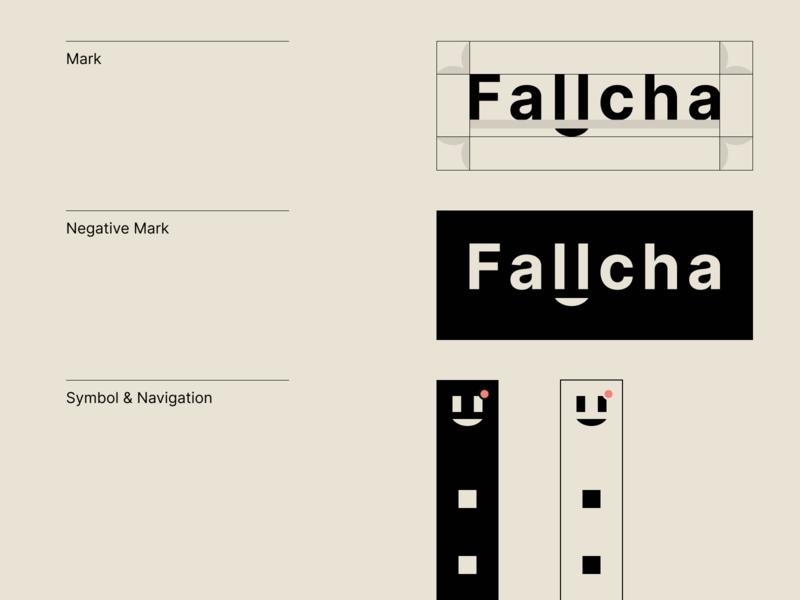 Fallcha — Logo typogaphy app vector smile print ui face welcome navigation symbol negative mark type inter typography branding logo design dublin ireland