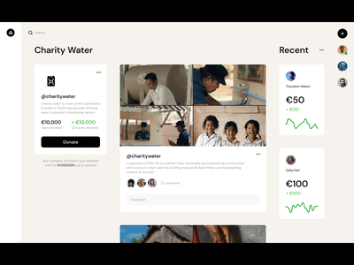 Donations Tool —Idea water recent team help company social yammer fund tool donation charity design ui dublin ireland
