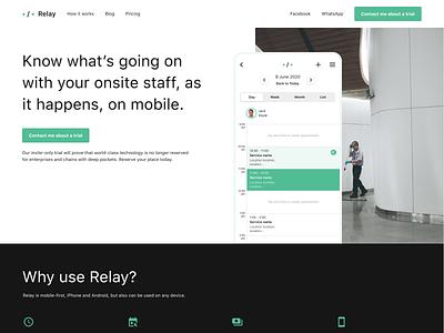 Relay — Website web page landing appointments calendar minimal clean mvp branding logo app prototype ios design ui dublin mobile ireland
