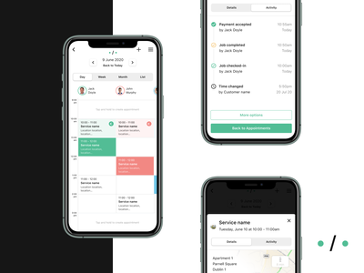 Relay — Appointments staff tabs timeline appointments slide deck pitch branding logo app prototype ux ios design ui dublin mobile ireland