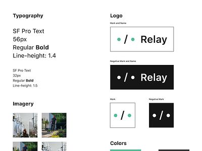 Relay — Style Guide type font sf san francisco negative mark clean minimal imagery logos colors typography branding logo app design ui dublin mobile ireland