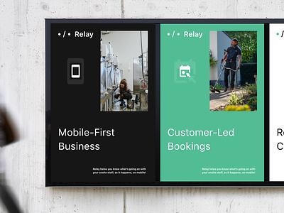 Relay — Poster wall mockup marketing advertising poster typography branding logo app design ui dublin mobile ireland