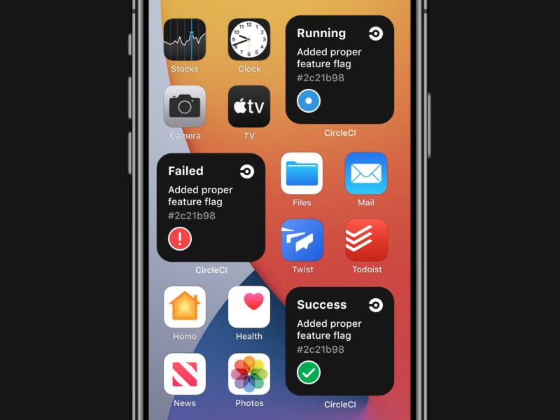CircleCI — iOS 14 Widget dx dev devops ci notification widget ios14 status app circleci ux ios design ui dublin mobile ireland