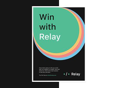 Relay — Ad flyer advertising mockup vector magazine ad print typography branding logo app design dublin mobile ireland
