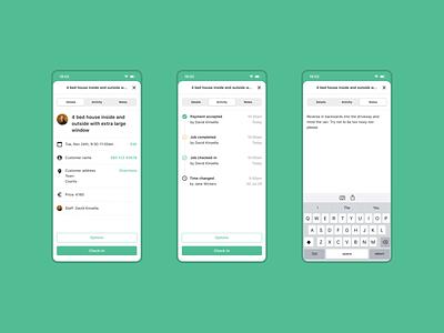 Relay — Job check-in notes timeline staff tabs app prototype ux ios design ui dublin mobile ireland