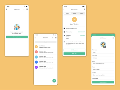 Relay — Customers empty state illustration customers app prototype ux ios design ui dublin mobile ireland