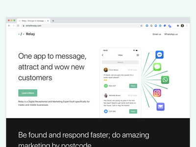 Relay — Website Shipped local social marketing customers message inbox web minimal clean validate typography app mvp ios ui design dublin mobile ireland