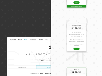 Pricing Page — Shipped dev ship experience developer dx plan pattern branding circleci cards mobile pricing