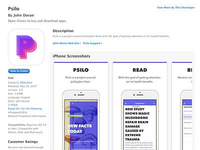 Psilo — Shipped ios health ship psilocybin psilo mushroom framer figma facts colour store app