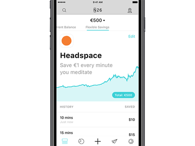 N26 x Headspace account balance auto chart graph feature meditate saving banking fintech headspace n26