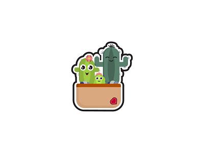 Cactus family illustration art illustrator plants mascot flower logodesign logo illustration graphicdesign design branding
