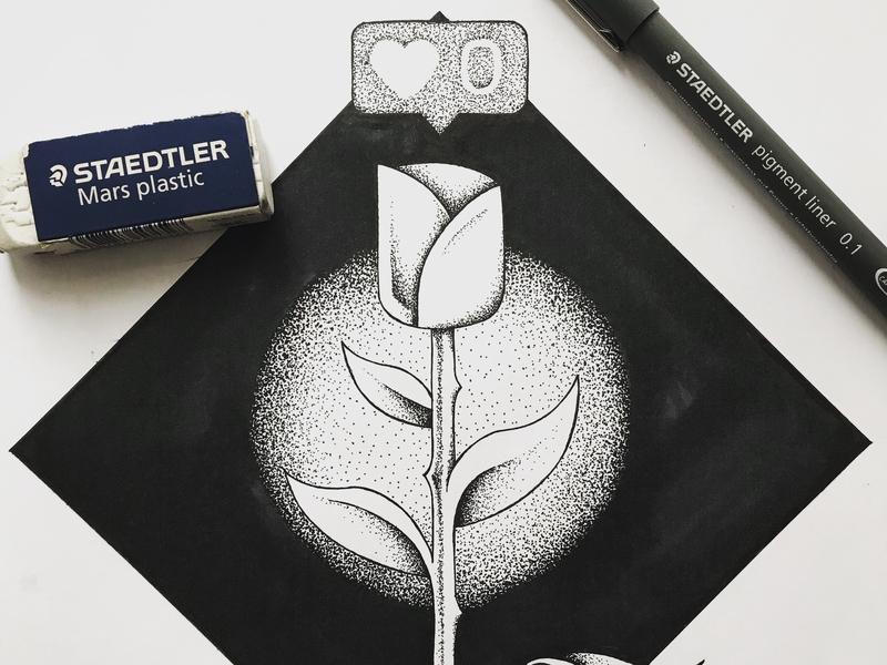 Zero likes drawing zero likes social media blackandwhite bw tusch ink stippling draw handdrawn flower illustration