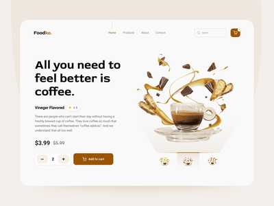 Coffee Header Exploration website web design homepage ecommerce mockup design uiux uidesign online shop coffee clean design colorful design webpage
