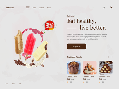 Tasty Food Layout food foodie restaurant popular shot clean ui food template online delivery order tasty layout uidesign ux website webdesign website concept minimal food page