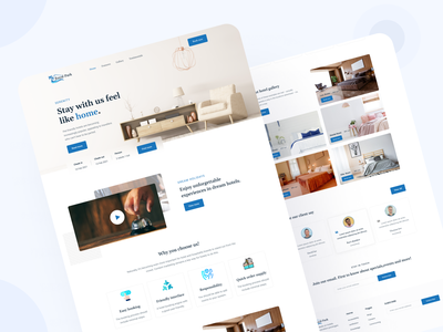 Hotel booking landing page UI design website design typography minimal clean digital agency client website webdesign landingpage web ui ux rent guests host hotel room booking taveling
