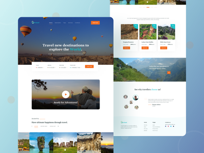 Travel Agency Landing Page UI Design inspiration minimal clean trip planner travel guide travel packages nature colorful website design travel website travel web travel app community travel agency travel web design homepage website landing page