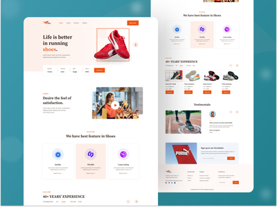 Shoes Selling Landing Page UI Design minimal visual fashion ecommerce puma shoes product templates ux design sport app branding website ui web landing page webdesign landing clean shoes