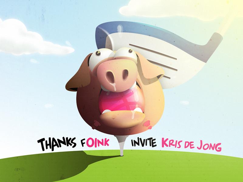 Thanks For Invite cartoon pig golf invite