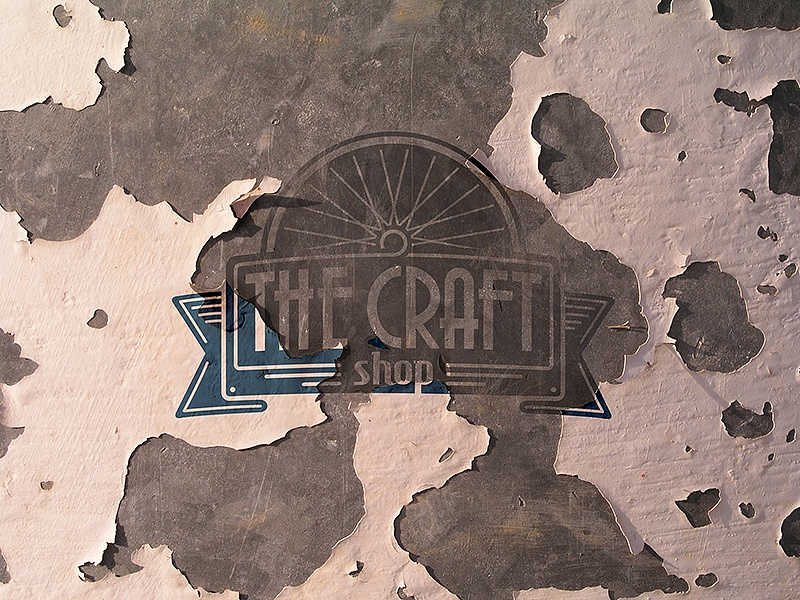 The Craft Shop logo texture shop vintage rusted wall