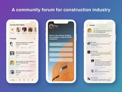 A construction community forum architecture construction forums forum mobile app design mobile design mobile app mobile ui mobile design ux design uxdesign uxui ux ui design uidesign uiux ui