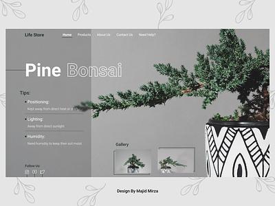 Bonsai bonsaitree flower typography concept uidesigner designer minimal design landing tree bonsai webdesign web ui  ux design uiux uidesign ui minimal design 2021 trend 2021