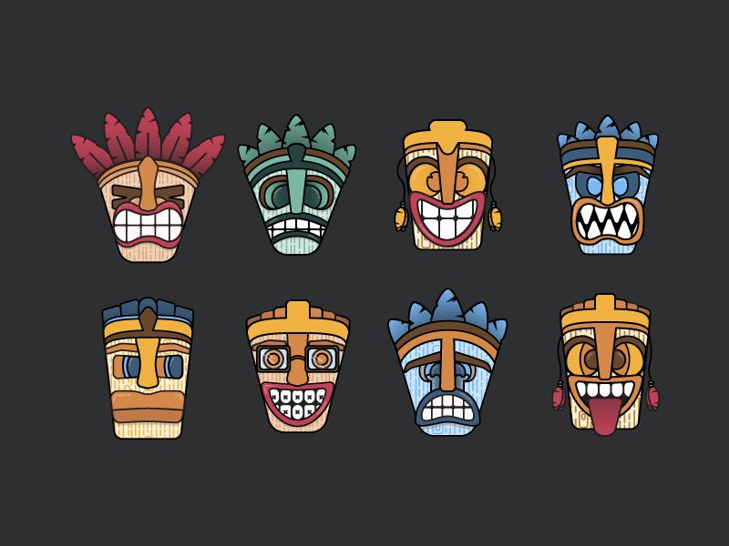 TikIcons flat design tiki mask masks pattern tiki iconography design icon