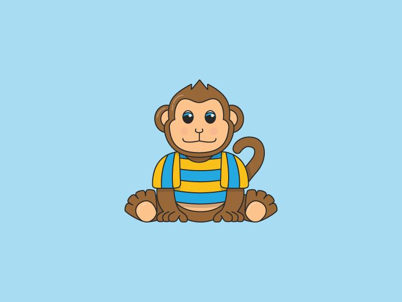 Monkey Character flat design t-shirt freelance designer character wildlife brand cartoon illustration branding monkey