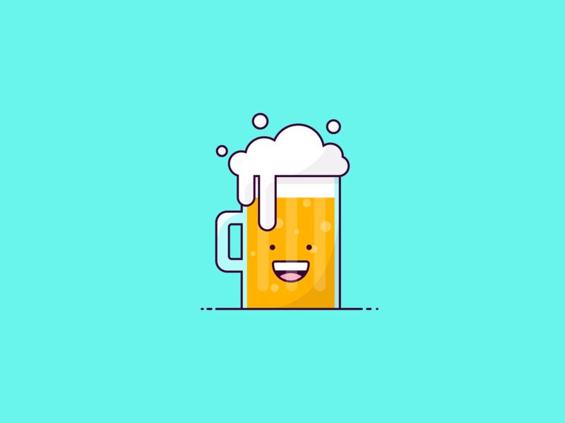 Happy Beer 🍻 cheers pint drink beer vector design characters character design illustrator flat design designer character illustration