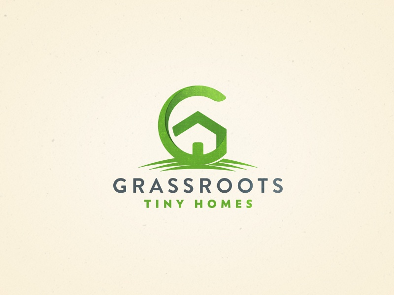 Grassroots Tiny Homes g green negative space house home tiny homes grassroots logo mark logo