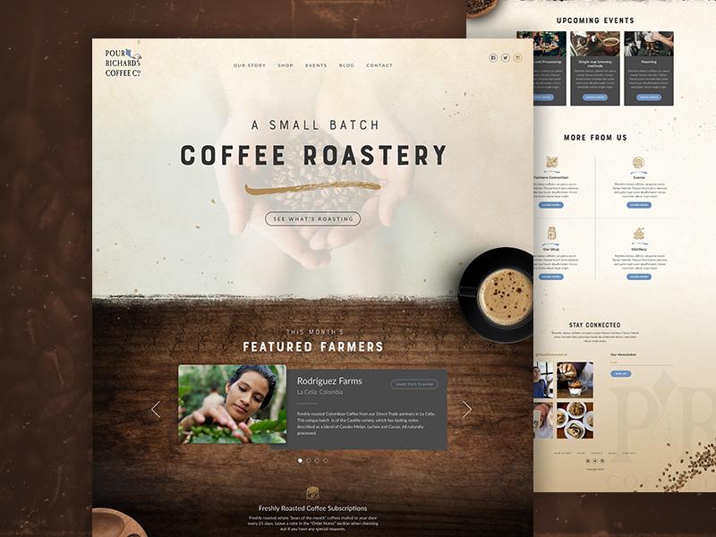 Coffee Shop Website homepage texture ui coffee coffee shop website web design