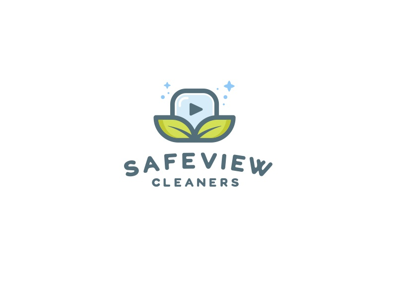 SafeView Cleaners icon cleaning service branding vector design illustration logo mark logo