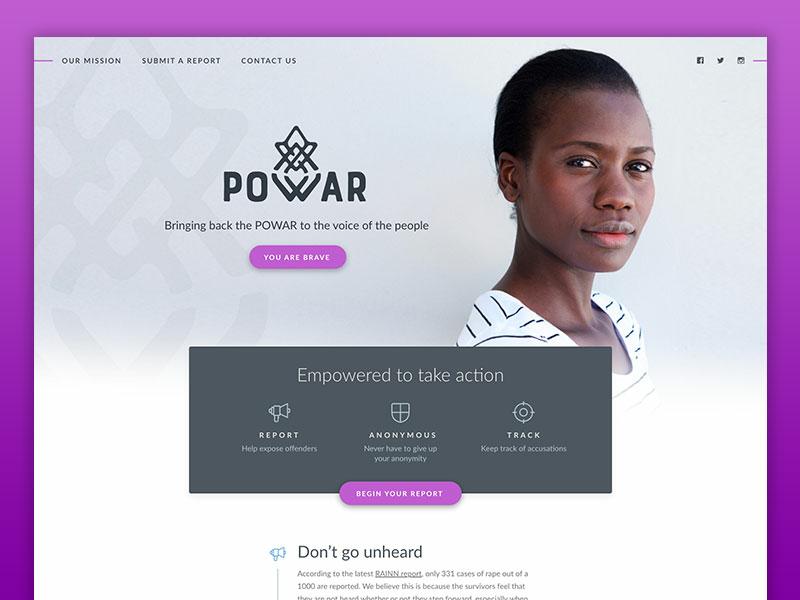 Powar purple branding logo mark logo website web design