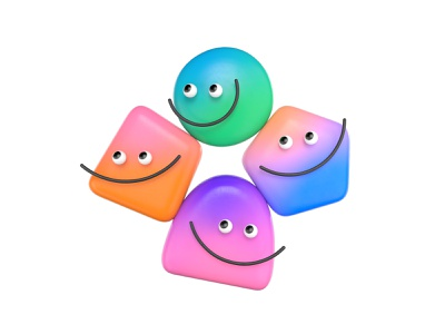 Little Fellas smile face cinema4d redshift clay toy gradient character render illustration 3d focus lab