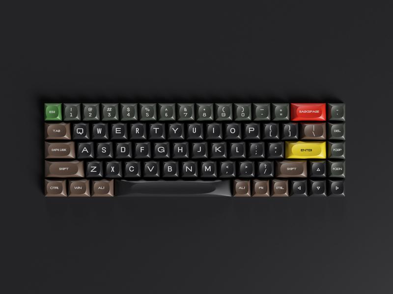 65% Keycap Set model hard surface modeling keyshot arnold octane mechanical typography braun c4d cinema4d redshift render keys keycap keyboard hardware 3d
