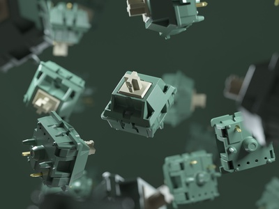 Protozoa Moss Switch keys mechanical texture rendering keyboard hardware cinema4d c4d 3d art octane render 3d