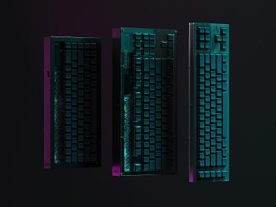 Protozoa Family Photo machine pattern silkscreen plastic engrave metal board circuit keyboards keycaps keyboard hardware c4d render 3d