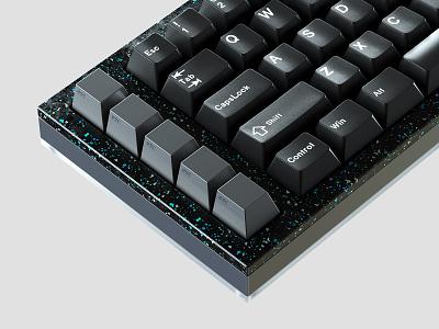 Protozoa P.03 featuring esc lab artisan keys type rendering cnc plastic keyboard metal terrazo hardware 4d cinema c4d octane cap key render