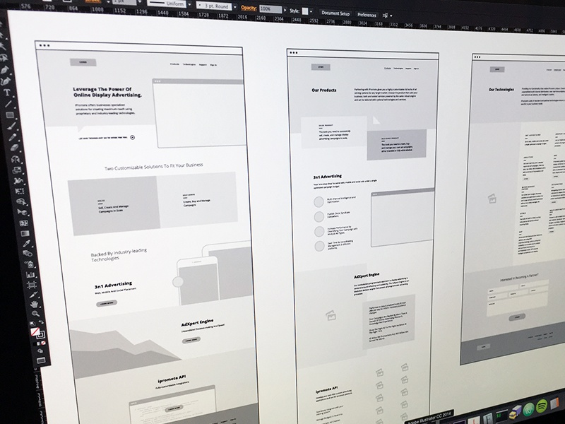 iPromote Wireframes Rd. 1 wireframe illustrator layout marketing site focus lab