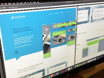 iPromote Homepage WIP site homepage mockup hero ads grid focus lab