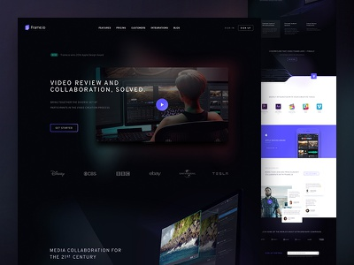 Frame.io Iteration 3d video grid cards typography website focus lab