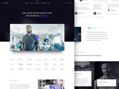Frame.io Customers video customers grid cards typography website focus lab