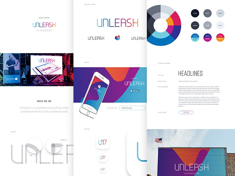 Unleash Branding signage icon app mockup poster badge conference branding focus lab