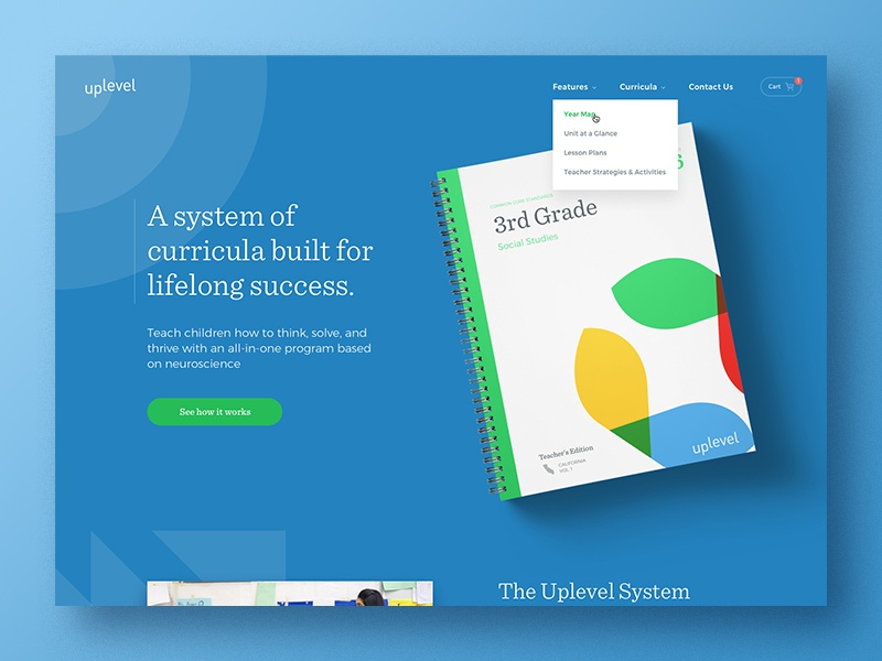 Uplevel homepage landing page book cards typography website focus lab
