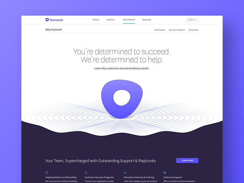 Outreach WIP signal nav site icon illustration landing page website focus lab