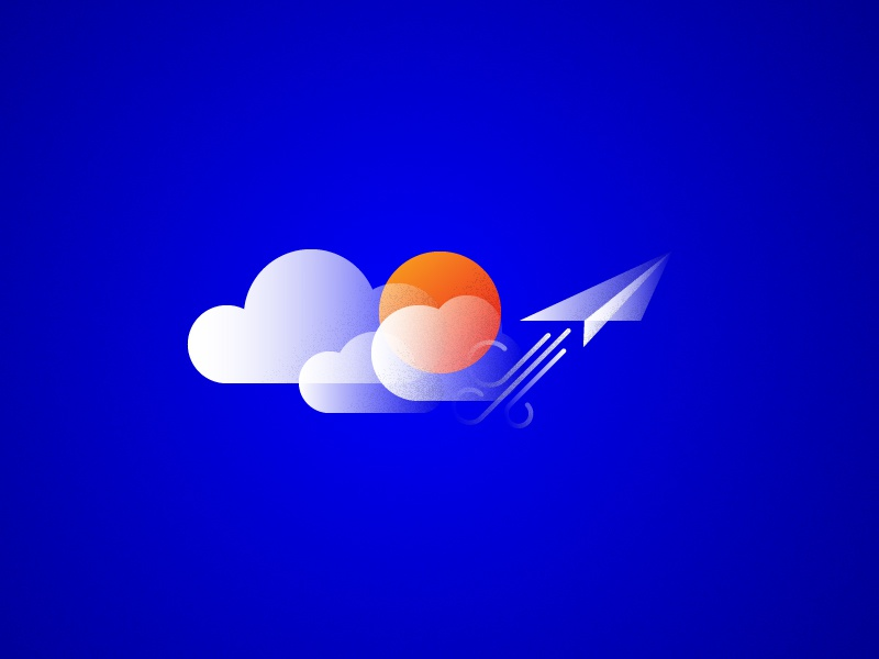 soarin' sky grain texture illo cloud airplane paper moon sun illustration focus lab
