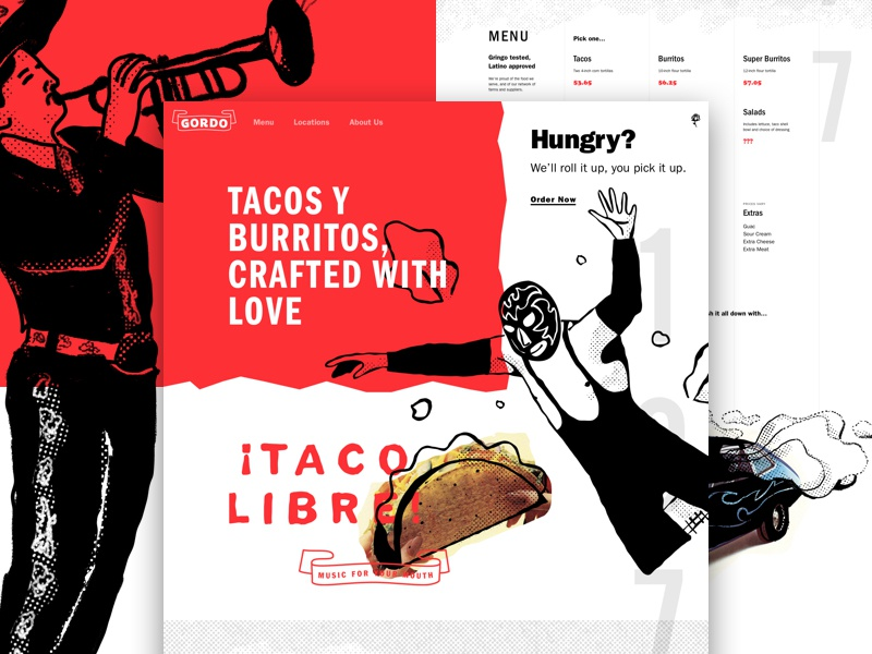 ¡Gordo Taqueria! one pager landing page illustration lettering luchador menu restaurant mexican burrito taco focus lab