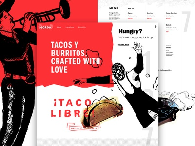 ¡Gordo Taqueria! one pager landing page illustration lettering luchador menu restaurant mexican burrito taco focus lab