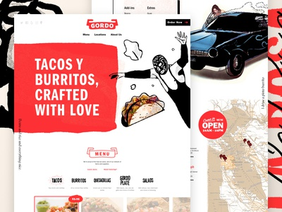 ¡Gordo! banner lettering restaurant menu car mexican burrito taco focus lab