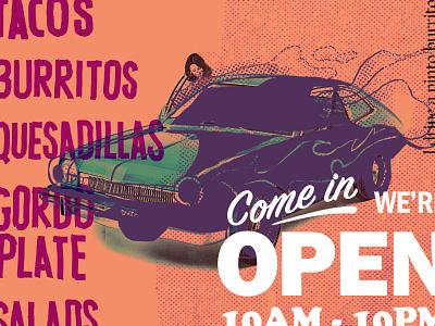 🌮 illustration car food burrito restaurant taco pinto focus lab