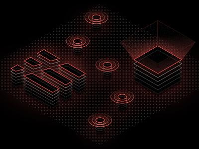 3D Projection Illustrations rays icon line grid dot 3d illustration focus lab